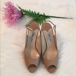 Jimmy Choo Isabel Nude Patent Leather Pump Heels